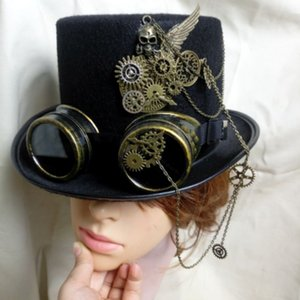 Unisex Adults Steampunk Victorian Gothic Hats Bowler Cosplay Halloween Fancy Dress Accessory Caps Fedoras 223-110
