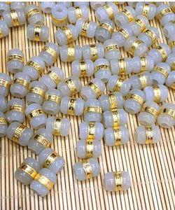 De oro con incrustaciones de jade y Tian Yu carretera carretera del puerto de transferencia de bolas colgantes de jade blanco perlas sueltas DIY envío libre F6