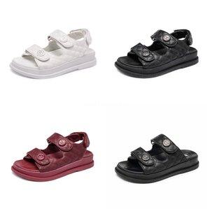 Sandalet Ayakkabı 2020 Yaz Burun Kalın Düz Katı Pu Casual Kız Plaj Kadın Floplar Bayanlar ayakkabı Bayan Siyah Kahverengi 34-40 CT1 # 859 kadın