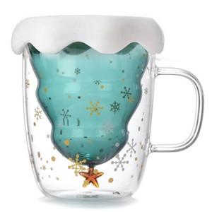 Coupe du verre Double Creative plate-forme d'arbre de Noël Étoile de souhaits tasses d'eau à haute température Résistance tasse à café Cadeau de Noël 23af H1