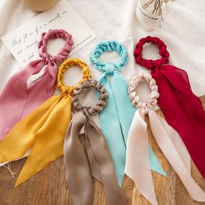 Muchachas arquean larga banda para el cabello pelo de la cinta del INS nuevos niños de tejido a mano titular de giro princesa venda elástico cola de caballo mujeres tocado A2348