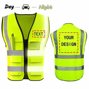 Free shipping Custom Your Logo Protective Workwear 5 Pocket High visibility Safety Vest With Reflective Strips Outdoor Work T191226