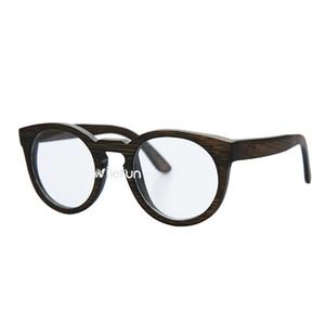 Vintage runde Brillen-Sonnenbrille aus braunem Bambus mit doppeltem Verwendungszweck der Katzenauge-Form