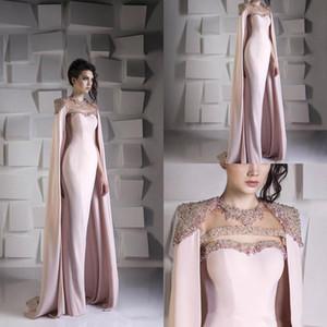 Arabisch Mermaid Abendkleider mit Cape Perlen Kristall Satin mit Rüschen besetzten formalen Partei-Abschlussball-Kleid Sheer mit Rundhalsausschnitt in Übergrößen Dubai Abendkleidern