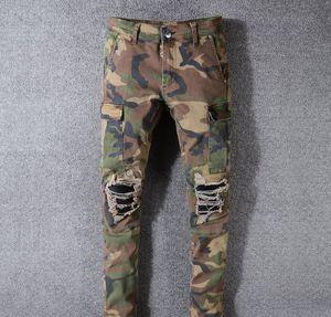 New Mens Designer Jeans Slim Camouflage Fashion Marque Pantalon Denim Ripped Trou Distressed Slim Crayon Pantalons Pantalons moto