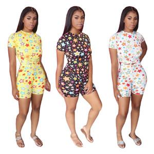 Estrela colorida das mulheres Verão Fatos magro floral do pescoço de grupo das mulheres 2pcs Designer Casual fêmea home Tracksuits