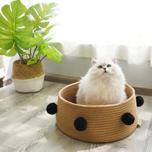 Nordic Katze Betten für alle Jahreszeiten Baumwolle Katzen Kitty Bett Katzenhaus Villa kleine Hundehütte Welpen Nest Haustier Wurf liefert