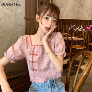 Shirts Women Oriental Retro Plaid Chinese Design Novelty Summer Crop Top Slim Sweet Girls Chic Newest Trendy Female Clothes Cute