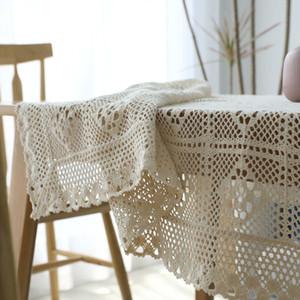 Rural Crochet della mano fodera in cotone tessuto griglia Tovaglia scavato Out Tovaglia Piano d'asciugamano puntelli di ripresa