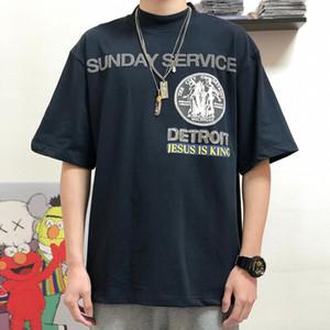 Andys Europeia Jesus é rei domingo SERVIÇO Tee impressão gola alta camisas de algodão Moda Mens Mulheres Camisetas Casal HFXHTX142
