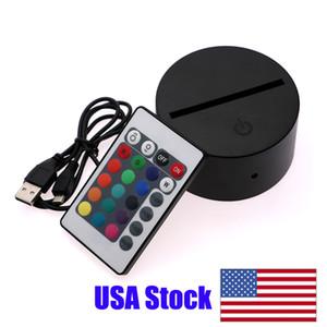 bar restoran için ABD Stok RGB USB Kablosu Dokunmatik Lamba LED Lamba Base 3D Gece Işığı Akrilik Levha Panel Tutucu Uzaktan USB Kablosu