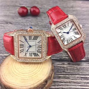 패션 브랜드 높은 품질의 남성과 여성 시계는 다이아몬드 석영 운동 시계 가죽 스트랩 톱 디자이너 여성 시계 금 시계 장미