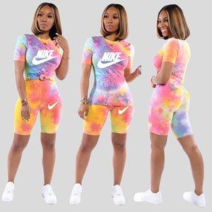 Donne Designer Clothes Lettera Stampa Short-manicotto a due pezzi Women S Abbigliamento 2 tuta Set Sport Plus Size Abbigliamento Donna S-XXL T13