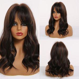 Hamor Longo Natural Ondas Ombre Brown peruca de cabelo da Mulher Negra uso diário Moda resistente ao calor Synthetic Natural fofo Perucas