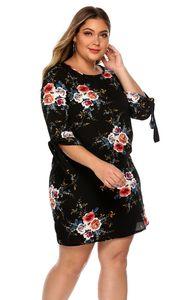 في سهم النساء اللباس الصيفي Boho نمط الزهور طباعة Chiffon الشاطئ اللباس الثوب Sundress فضفاضة ثوب حزب صغير Vestidos زائد حجم XL-5XL