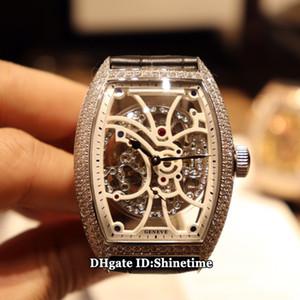 COLLEZIONE migliore versione UOMO 8880 B S6 SQT D manopola di scheletro cinturino in pelle cassa del diamante Argento Giappone Miyota Automatic Watch Mens Nuovo Orologio