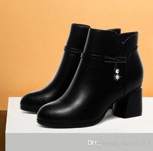 Zhengzhou 2018 Next Winter Angel Shoes Thick High-heeled Women's Boots Sanded Wool Martin Women's Boots Next Winter Angel Women