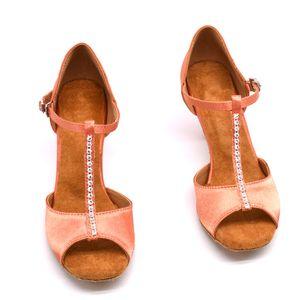 Salsa Tango Ladies chaussures de danse Ballroom Dance Chaussures Femme T-bar chaussures carré rose JuseDanc