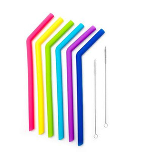 Silicone Drinking Straws Outdoor Kichen set with cleaning breshes tumber bar party straws