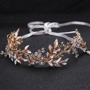 Baroque Greek Leaf Flower Opal Headbands Gold Crystal Rhinestone Wedding Crown Tiara Bridal Headpiece Hair Accessories Jewelry