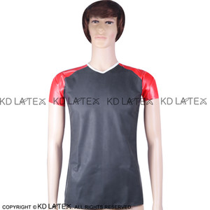 Black With White and Red striped Sexy Latex Shirt Short Sleeves Fetish Rubber Clothings Plus Size YF-0018