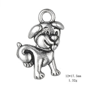 Antique Silver Cute Dog Pendant Animal Charms For Handmade Jewelry Bracelets Necklace Making DIY Accessories 50PCS