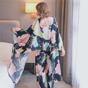Temmuz'S SYJJF 4 Adet Pamuk Sonbahar Kış Kadın Pijama Çiçek Baskılı Pijama Takımı Üst ve Şort Kadın Gece Suit Set CX200606 ayarlar