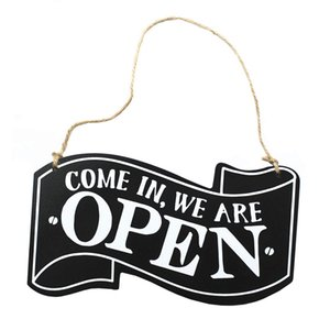 Reversible Hanging Board Open Closed Sign Home Modern Double-sided Wooden Door Shop With Rope Plaque Lightweight Durable