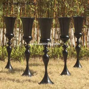 Nuevo estilo jarrón de metal negro para mesa boda trompeta forma jarrones de flores centros de mesa de boda para decoraciones de boda senyu0245