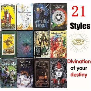21 Styles Magical Tarot anglais Conseil édition jeu mystérieux Tarot Family Party Game Cards