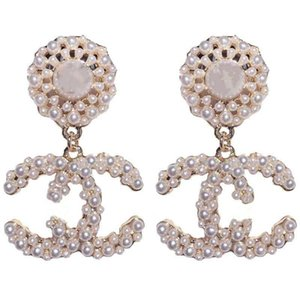 2020 High quality ladies fashion designer jewelry hoop earrings women wedding earrings white pearl big earing flower charm free shipping