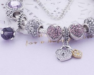 Al por mayor del regalo del día Mujeres Royal Crown encanto de la pulsera cristalina púrpura pulsera de los granos de San Valentín 925 pulseras de Pandora Para