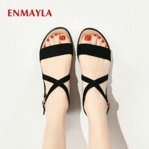 ENMAYLA Cow Suede Basic Casual Buckle Strap Flat Sandals Fashion Cover Heel Women Sandals 2020 Shoes Women Designers