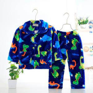 Famli Çocuk Fanila Pijama Sıcak Coral Polar Kızlar Karikatür pijamalar Boys Kış Uzun Kollu Pijamas Gecelik Y200704 yazdır ayarlar