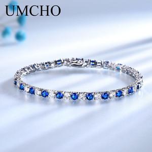 Umcho Luxury Created Nano Blue Sapphire Pulsera Real 925 Joyas de Plata de ley Pulseras Románticas Para Mujeres Regalos T190702