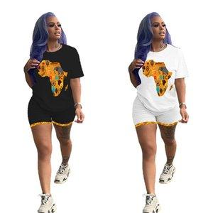 Le donne casuali Outfits Mappa dell'Africa stampa Sweatsuit sport insieme delle 2 parti manica corta t-shirt + mini shorts di abbigliamento estivo sottile jogger vestito 3138