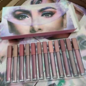 12Colors красоты Matte Liquid Lipstick Kit Lipgloss Brand Designer помириться с DHL Бесплатная доставка LipGloss 24sets