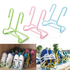 2PCS / Set Multi-Function gancho duplo Sapatos de secagem cremalheira cabide Folding Hanging Shelf Cavalete Shoes Organizer
