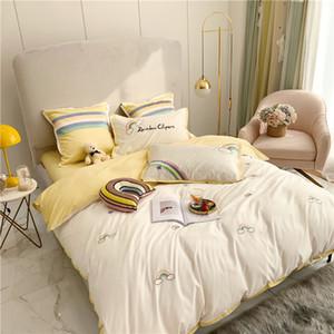 бесплатная доставка постельное белье наборы домашний текстиль новый радужный вышивка хлопка четырех частей набор 60 тонковолокнистого хлопка милые девушки хлопок пододеяльник