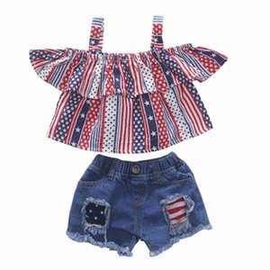 Meninas Sling Shorts Set bandeira americana Independência Nacional Day EUA 4o Estrela julho Striped Cotton Ruffled Tops raspada Jeans rígidos