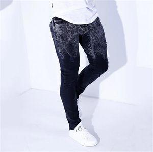 Gradient Color Mens Designer Jeans Casual Mid Waist Washed Pencil Pants Fashion Ripped Hole Jeans Homme Pantalon