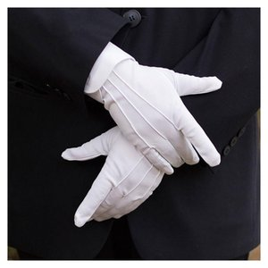 Thefound 2019 New Men Cotton White Tuxedo Gloves Formal Uniform Guard Band Butler