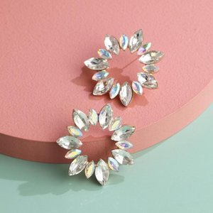 Small Flower Colorful Glass Stud Earrings New Korean Statement Lady Crystal Earrings Circle Wedding Jewelry Bijuox Accessories