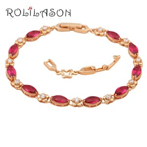 Rolilason Red Design Zircon Crystal Gold Tone charm Headers Health Fashion jewells TB120