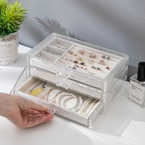Multistrato Jewelry Organizer Box Di Plastica Trasparente Jewerly Box Organizer Per Anelli / Collana / Orologi C19010501