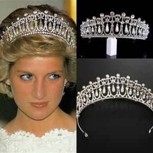Vintage de plata reina princesa Diana corona de cristal perla diadema para nupcial accesorios para el cabello novia diadema tiara de noiva
