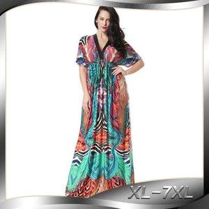 Модули Дуньхуан горячие продажа супер длинные Приморский праздник пляж юбка битой рукав плюс размер льда шелк платье 6030