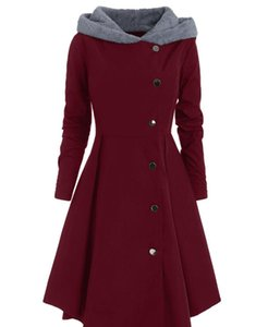 Inverno Donna Asimmetrico Plus Size Soprabito Contrast Cappotto con gonna Skirted Monopetto Color Block Long Outwear