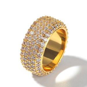 Cuivre Laiton plaqué or Micro Pavée CZ Bague Zircon diamant anneau de mariage en gros les plus récents Hip Hop Designs