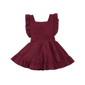 Floral Menina recém-nascida Baby Kids Vestidos bela princesa Corduroy Roupa Vestido de Verão